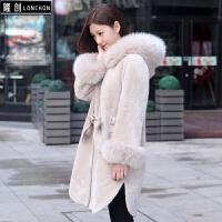 皮毛一体外套女装2017秋冬新款羊剪绒大衣中长款羊羔毛东北皮草