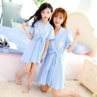 女童睡裙儿童睡衣夏季短袖小女孩母女亲子装空调家居服中大童薄款