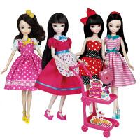 女孩玩具礼物 时尚小帮手豪华大衣柜冰箱餐厅手推车