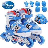 迪士尼溜冰鞋儿童护具全套装旱冰鞋男童女童可调节直排闪光轮滑鞋