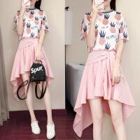 2018夏新款时尚印花菠萝上衣t恤+不规则裙子套装两件套可爱少女裙 粉红色