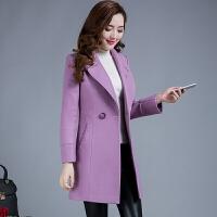 春装新款韩版大码修身中长款女士毛呢外套中年收腰呢子大衣40