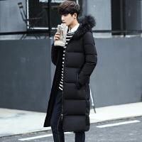 冬季长款男士羽绒服过膝韩版修身加厚连帽大衣潮流青年大毛领外套