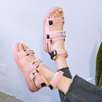 夏季韩版女士凉鞋女松糕厚底女鞋拖鞋两穿时尚外穿沙滩鞋