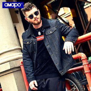 【限时抢购到手价:195元】AMAPO潮牌大码男装冬季加绒加厚保暖肥佬外套加大码宽松牛仔夹克