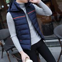 短款冬装棉马甲男韩版潮流青年带帽外套2017冬天新款男士黑色坎肩