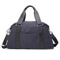 男士旅行包帆布大容量手提短途出差行李袋韩休闲复古单肩斜挎包潮 蓝黑色 大