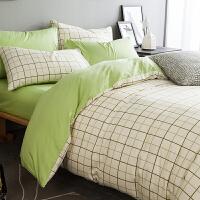 家纺风北欧简约全棉纯棉床上用品四件套少女宿舍3三件套床单被套夏