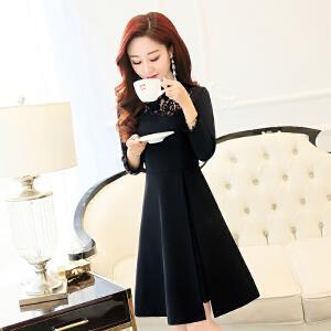 2018春装韩版新款女装蕾丝拼接收腰修身显瘦时尚中长款潮流连衣裙