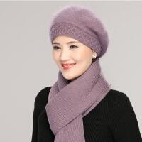 中年帽子女贝雷帽冬季兔毛针织毛线帽女秋冬帽子婆婆中老年妈妈帽