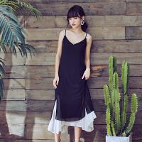 韩版假两件吊带连衣裙夏季巴厘岛雪纺长裙度假沙滩裙