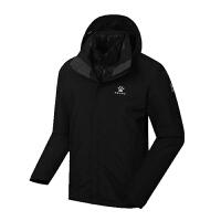 KELME卡尔美 K46C1023 男式冬季户外冲锋衣 两件套羽绒内胆保暖登山服 连帽户外运动上衣