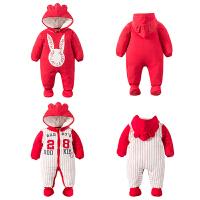 女婴儿连体衣服秋冬季新年0岁3个月宝宝6新生儿套装棉衣加厚睡衣