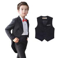 男童燕尾服礼服 儿童西装套装钢琴演出服秋冬 黑色6件套