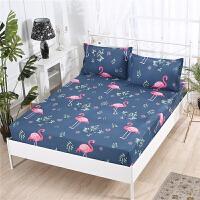 床笠单件席梦思床罩保护套1.2儿童卡通1.5m1.8米薄款棕垫床套白T 军绿色 火烈鸟