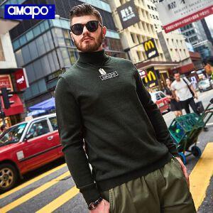【限时抢购到手价:90元】AMAPO潮牌大码男装胖子加肥加大宽松长袖圆领套头加厚打底针织衫