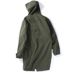 【限时抢购到手价:186元】AMAPO潮牌大码男装胖子肥佬加肥加大宽松连帽中长款风衣外套夹克
