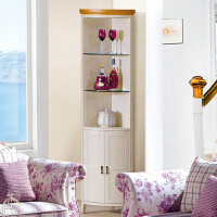 尚满 地中海系列餐厅家具 客厅餐边储物柜 转角酒柜 边框实木框架酒柜
