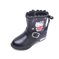 hellokitty女童鞋靴子冬款大棉加绒皮靴公主鞋中筒儿童靴子K6483DD541