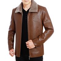 冬季新款男士真皮皮衣皮毛一体加绒绵羊皮夹克中年休闲装外套