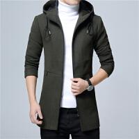 冬季男装连帽羊毛呢夹克外套修身男士中长款呢子大衣英伦潮流风衣 墨绿色 8901 0/L 110斤以下