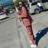 chic小西装外套女士2018新款春秋英伦风OL西服九分裤时尚休闲套装
