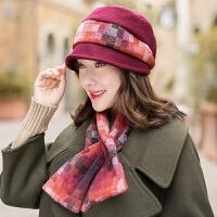 贝雷帽女秋冬天韩版潮时尚保暖帽子围巾套装英伦羊毛帽百搭时装帽