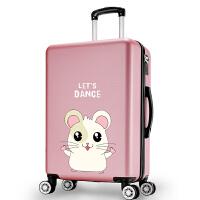 韩版卡通个性行李箱少女大学生小清新皮箱拉杆箱萌萌可爱旅行箱子 玫金色 可爱鼠