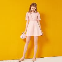 粉色蕾丝连衣裙女2018夏季新款短袖显瘦韩版小清新拼接a字裙子春 粉色