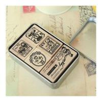 陆捌壹肆 bentoy铁盒装木质印章套装 漂亮 图案各异 6款随机 可爱别致 1盒装