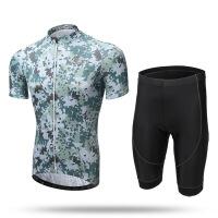 林地迷彩骑行服套装 自行车单车服 排汗透气山地车服装男 短套装