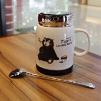 创意陶瓷卡通马克杯咖啡杯带盖勺男女生儿童喝水杯个性可爱熊本杯