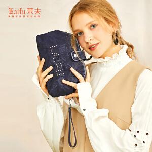 【可使用礼品卡】莱夫手拿包女韩版潮2018新款时尚女士拉链手抓包小零钱包手腕包