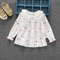 童装新款0-1-4岁女宝宝娃娃衫小女孩印花翻领打底衫婴儿纯棉上衣