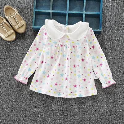 童装新款0-1-4岁女宝宝娃娃衫小女孩印花翻领打底衫婴儿纯棉上衣 发货周期:一般在付款后2-90天左右发货,具体发货时间请以与客服协商的时间为准