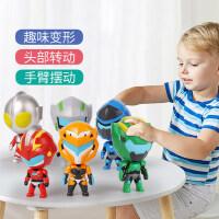 正版钢铁飞龙2奥特曼力量变形蛋Q版公仔人偶扭蛋儿童玩具套装机甲
