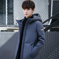 冬季新款男士加厚中长款羽绒服男韩版青年学生修身款外套潮 深灰色 0/M