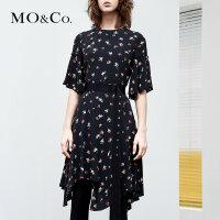 MOCO碎花小心机不规则chic连衣裙女夏新款显瘦气质中长款收腰