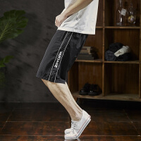 【1折价25.9元】唐狮夏新款休闲短裤男潮运动男士短裤五分裤黑色A