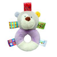婴儿响铃新生儿毛绒安抚玩具宝宝手抓摇铃0-1岁2标签动物摇铃