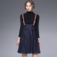 欧洲站秋季甜美星星刺绣背带裙优雅淑女牛仔高腰连衣裙6181 深蓝色