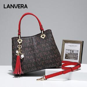 【支持礼品卡】LANVERA包包女2018新款商务手提欧美时尚百搭中年大容量妈妈包单肩斜跨包