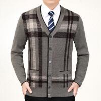 中老年人开衫男中年V领毛衫爸爸爷爷父亲装加厚针织毛衣外套秋冬