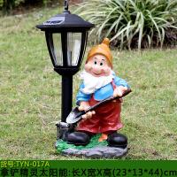 户外园林雕塑卡通小矮人太阳能灯装饰品摆件庭院草坪花园景观小品