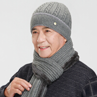 秋冬老人帽子男士加绒爸爸帽冬季爷爷老头帽中年针织毛线帽围巾