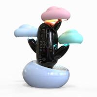 学生闹钟静音时尚创意智能礼物儿童床头钟多功能电子天气预报时钟 蘑菇云 闹钟-蓝色