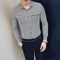 秋季新款商务青年男格子衬衣英伦韩版修身男士长袖衬衫男休闲绅士