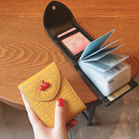 新款�n���{��C卡包女多卡位大容量真皮�r尚小巧卡片包超薄可��