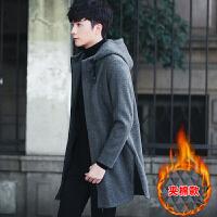 冬季风衣男中长款外套男士加厚潮流帅气韩版修身毛呢大衣 88201灰色加棉款 M