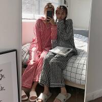 秋冬女装韩版学院风宽松长袖格子睡衣两件套小清新休闲家居服学生